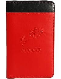 Schmick Red Black Genuine Leather Mobile Case Wallet for Samsung/HTC/Sony/Oppo/Motorola/Gionee/Micromax/Vivo/Lava/Red MI/Lenovo/Karbon/Xolo Upto 6 inches Screen