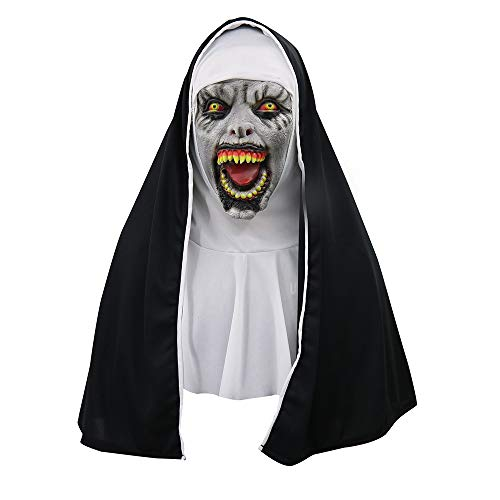 (JYJM Cosplay Scary Horrible Nonne Maske Schmelz Gesicht Latex Kostüm Halloween Masquerade Halloween Maske Weiß mit Haaren Horror Zombie Teufel Halloweenmaske Geist Hexe Monster Unisex (AS anzeigen B))