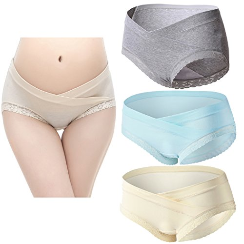 Topwhere 3 PCS Culottes En Coton Maternité Taille Basse Sous-Vêtements Grey+Blue+Champagne/3Pack
