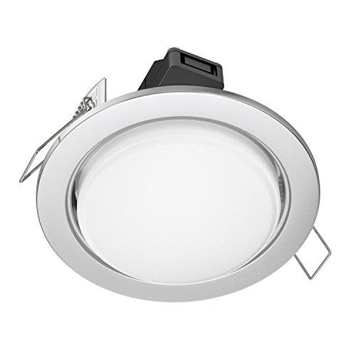 Einbauring Finish (ledscom.de LED Einbaustrahler Zobe flach GX53 chrom matt rund 6.3W=40W 450lm weiß 107mm Ø Lochkreis 90mm Ø)
