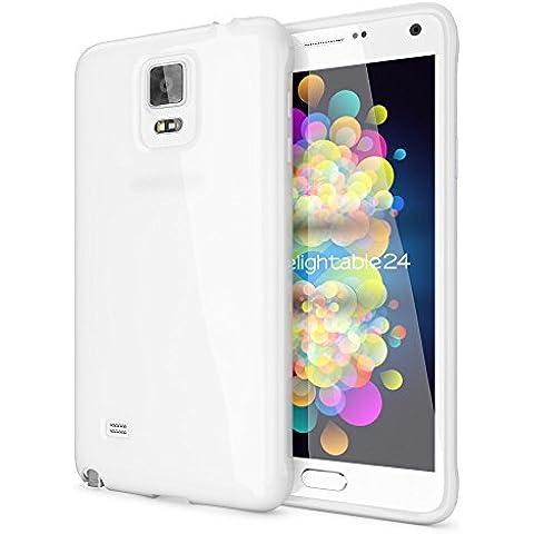 delightable24 Protezione Cover Case in Silicone TPU Jelly per Smartphone SAMSUNG GALAXY NOTE 4 - Bianco