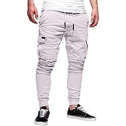 820a77bcf6be2 MOIKA Pantalon de Travail Homme Style Cargo Multipoches Ceinture Sport  Sarouel Jogging Occasionnels Pantalons Skinny Casual