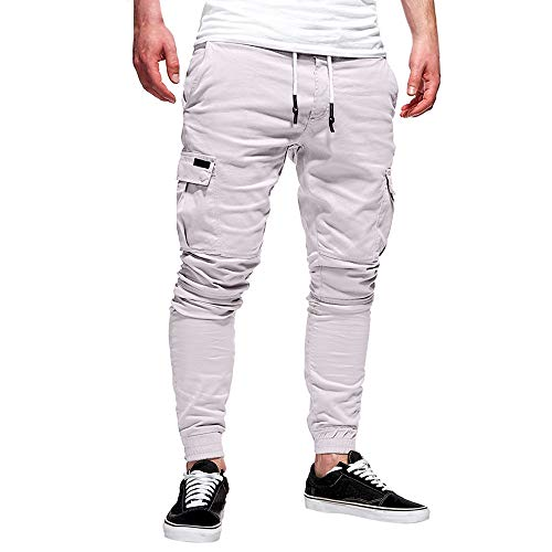 Pantaloni Jogging Uomo,a Buon Mercato Jeans Uomo Invernali,Moda Uomo Sport Puro Colore Bendare Sciolto Pantaloni della Tuta Coulisse Ansimare
