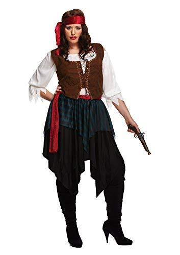 Erwachsene Damen Karibischer Freibeuter Piraten Damen Maskenkostüm - Plus (Pirat Für Erwachsene Kostüm Plus)