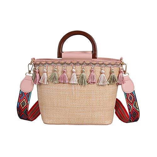 Morran Damen Messenger Bag Henkeltaschen Vintage Quaste Strand Stroh Tasche Ethnic Style Ribbon Strandtasche