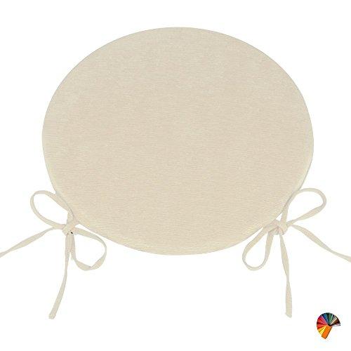 Arketicom (set 4 pz) cuscini sedie cucina rotondi sfoderabili con alette lacci laccetti cotone poliestere copri sedia tondo (cuscino casa giardino) personalizzabili cm 40x40 spessore 3 cm tessuto policotone cannettato beige