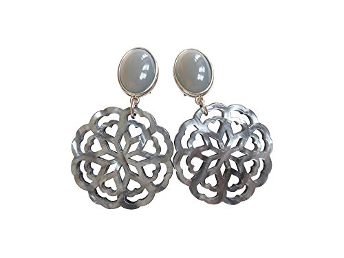 Sehr große leichte Clip-Ohrstecker Ohrringe vergoldet Stein grau Anhänger rund hell-grau schillernd Statement Hingucker Designer ()