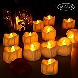 LED Kerzen, laxikoo 12 LED Flammenlose Teelichter, Flackern Kerzen, realistisch und hell Elektrische Kerze Lichter Perfekt für Halloween, Weihnachten, Party, Bar, Hochzeit (Flicker Gelb)