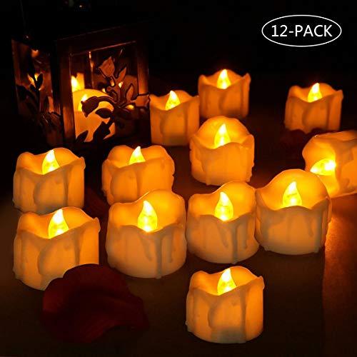 LED Kerzen, laxikoo 12 LED Flammenlose Teelichter, Flackern Kerzen, Elektrische Kerze Lichter Perfekt für Weihnachten, Halloween, Ostern, Party, Bar, Hochzeit (Batterien Enthalten)