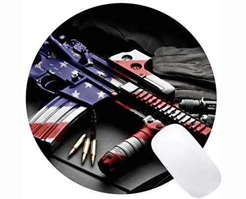 Ihr eigenes Customized Mousepad, Colt AR-15 Schusswaffe Patriotisches Gewehr Gummi Base Round Mouse Pads -