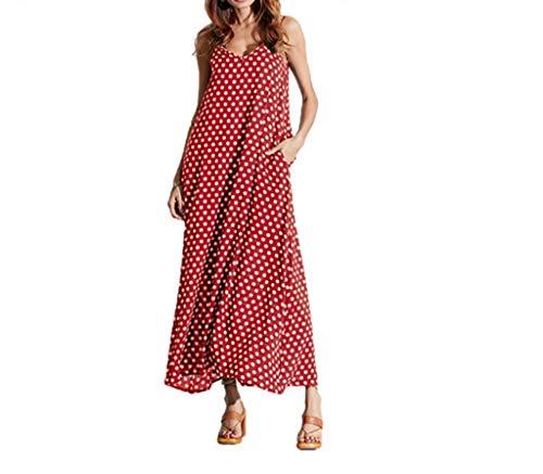 002 Frauen Spaghetti Strap Polka Dots V-Ausschnitt ärmellose Sommer Lange Maxikleid (Color : Red, Size : XL)