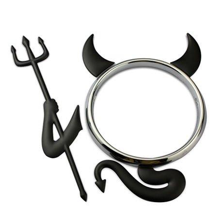 SKS Distribution® Kit Diable Noir 3D Voiture Diable emblème Badge en kit Sticker pour Voiture Autour Logo
