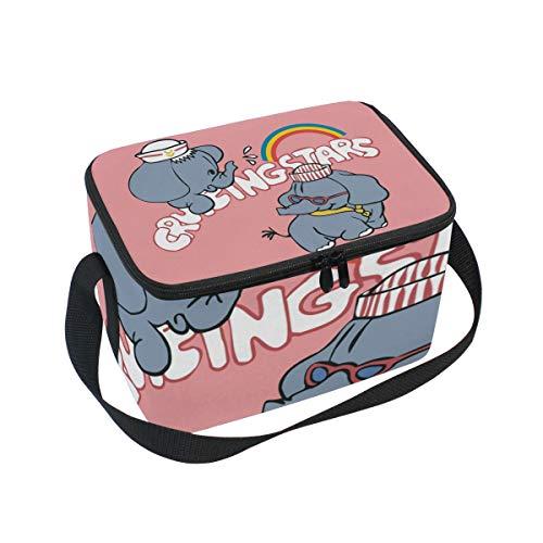 TIZORAX Cartoon Little Elephants - Bolsa térmica para el almuerzo, diseño de arcoíris