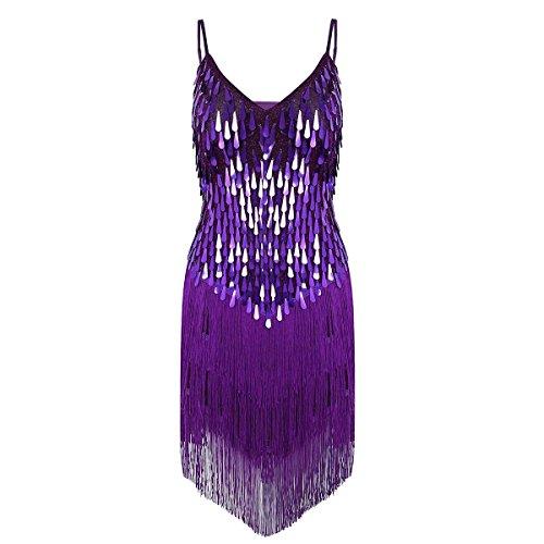 Tiaobug Damen Kleid Retro 1920er Stil Flapper Kleider Troddel V Ausschnitt Great Gatsby Motto Party Frauen Kostüm Festliche Pailletten Kleider Violett B - Violett Pailletten Flapper Kostüm