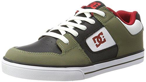 Dc-jungen Skate Schuhe (DC Shoes PURE, Jungen Sneaker, Mehrfarbig (Olive/Black), 34 EU (2 UK))