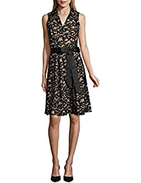 033cd96625a ROBBIE BEE Sleeveless Black and Nude Lace Shirt Fit and Flare Dress With  Ribbon Belt Detail