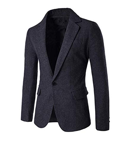 HX fashion Slim Fit Sportlich Herren Tweed Herringbone Freizeit Männer Casual Bequeme Größen Anzugjacken Blazer Sakko Slim Fit Nner Kleidung (Color : Grau, Size : M) -