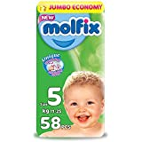 Molfix Diapers Jumbo Pack Junior with Unique 3D Technology - Jumbo Economy Pack 58 Pcs, Size 5