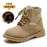 Top Shishang Bottes d'hiver Hommes Dames Martin,Automne Hiver,Chaussures à Lacets en Cuir Velours,Bottes Neige,Kaki Velours,32