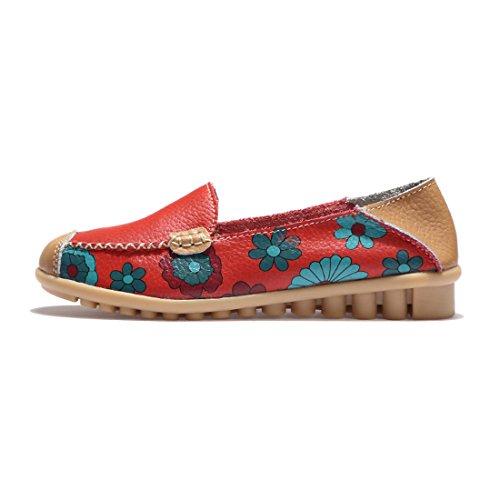 Z.SUO Mocassini Donna in pelle Moda comode loafers scarpe da guida Rosso