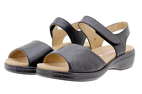 Chaussure femme confort en cuir Piesanto 1801 sandales à semelle amovible confortables amples Natur Negro