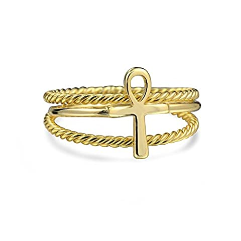 Ankh Cross Twisted Cable Midi Ring Set Gold Plated Silver