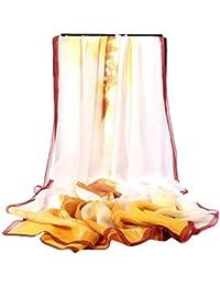 Pollusui Bufanda de Seda para Mujer Toalla de Playa Estampada con mantón de Sol de Primavera