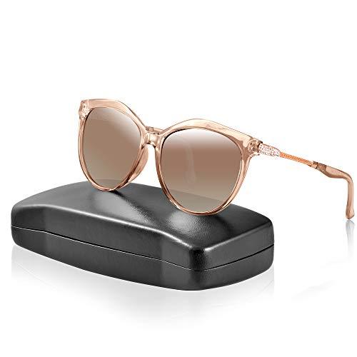 ipow Polarisierte Sonnenbrille mit Diament-Design, retro Damen 100% UV Schutz Sonnen Brille/Gradient Linsen - Braun ...