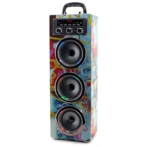 Pure Acoustics MCP-30 Portable Multimedia Karaoke Machine w/ Mic, Bluetooth, Disco Lights, USB Port, SD Card Slot and Audio Input for Smartphone, Tablet, & MP3 Players in Graffiti Mp3-player-w Sd-card