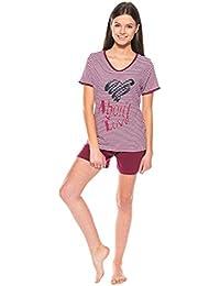 Moonline stilvoller Damen-Pyjama Schlafanzug Hausanzug gestreift mit tollem Motiv-Druck, 100% Baumwolle