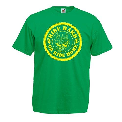 N4688 T-Shirt da Uomo Ride Hard! Biker Clothing (XX-Large Verde