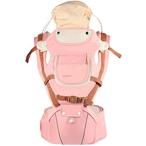 Tragetuch Multifunktionssitz Ergonomischer Babyrucksack 0-36 Monate Vier Jahreszeiten Artefakt mit winddichter Kappe,Pink