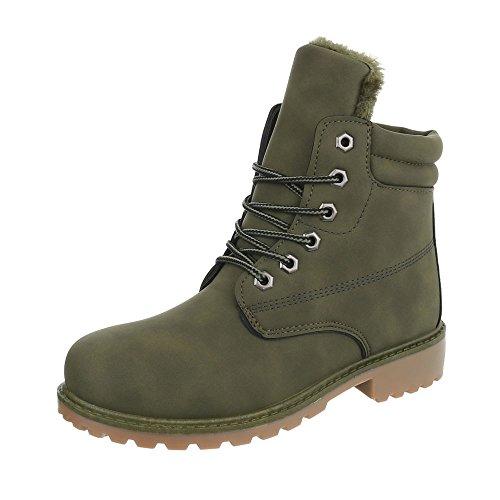 Ital-Design Schnürstiefeletten Damen-Schuhe Combat Boots Blockabsatz Warm Gefütterte -