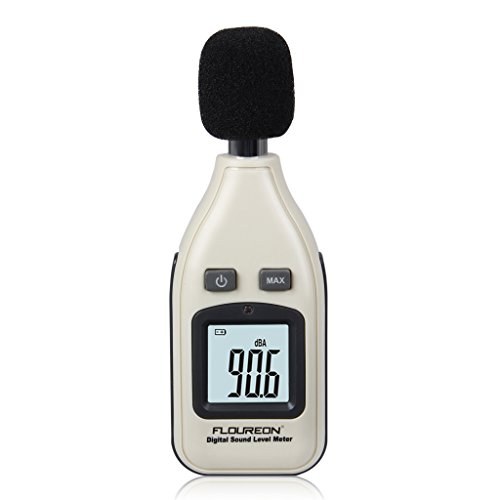 Floureon Digital Schallpegelmesser Schallpegelmessgerät Schallpegel Lärm messgerät Sound level meter Lärmmessgerät mit Datenspeicherfunktion Abschaltautomatik 30~ 130 dB Test