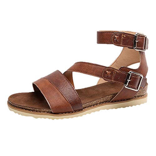 koperras Women's PU Leather Sandals,Ladies Fashion Flat Cross Belt Buckle Breathable Leisure Euro Shoes Strappy Leather Thong Sandal