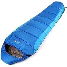 OUTAD Saco De Dormir Momia Impermeable hasta -5 ° 210T Nylon 4 Estaciones Color Azul