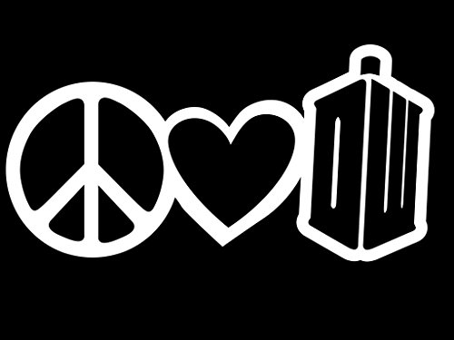 Love Doctor Kostüm - Peace Love Doctor Who Vinyl Decal Sticker | Cars Trucks Vans Walls Laptops Cups | White | 7 X 3.5 Inch | KCD1629W