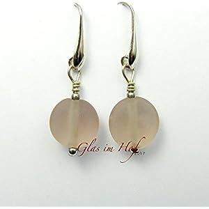 Ohrringe aus rosafarbenem Glas - Einzelstück