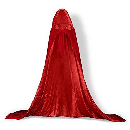 YaoDgFa Unisex Halloween Kostüm Karneval Fasching Costume Umhang Cape Cosplay Kapuze Vampir Zauberer für Damen Herren Erwachsene/Kinder, Rot, (Superman Samt Kostüm)
