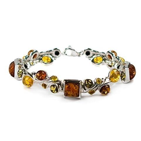 Ambre multicolore Argent sterling Grande Designer Bracelet 7.5