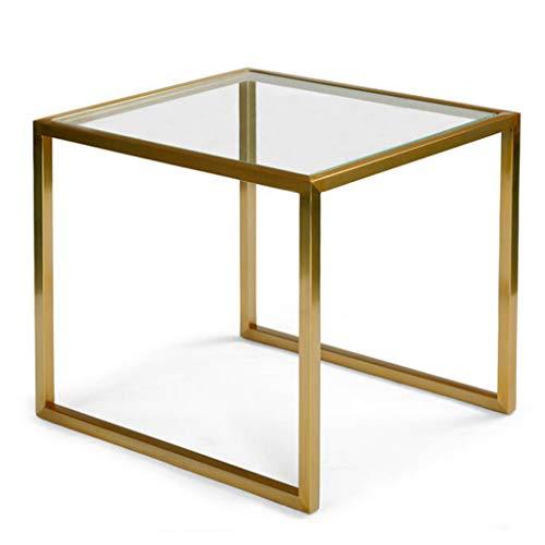 Eisen-glas Beistelltisch (Eisen Kunst Ende Beistelltisch Glas Kreative Sofa Side Corner Einige Quadratische Tabelle Wohnzimmer Schlafzimmer Kleine Teetisch Moderne Einfache Kleine Couchtisch,A)