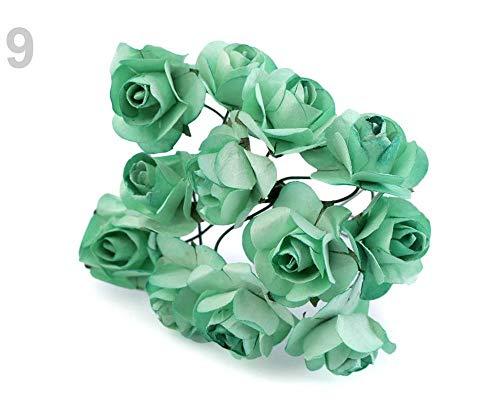 1bund 9 Mint Rose Auf Draht/Rohling Für Hochzeit Verzierung Ø20mm, Kunstblumen Und Blüten, Zubehör Zum Arrangieren, Dekoration