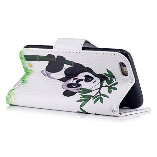 Trumpshop Smartphone Case Coque Housse Etui de Protection pour Apple iPhone 6 / iPhone 6s (4.7-Pouce) + Don't Touch My Phone (Ourson) + Mode Portefeuille PU Cuir Avec Fonction Support Gangfu Panda