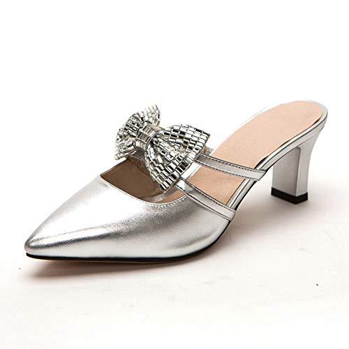 MENGLTX High Heels Sandalen Große Größe 32-43 Spitzschuh Frauen Sommer Süße Bowtie Slip-On Schuhe Frau Party High Heels 6 cm 3 Silber (33 32 Jeans Silver)