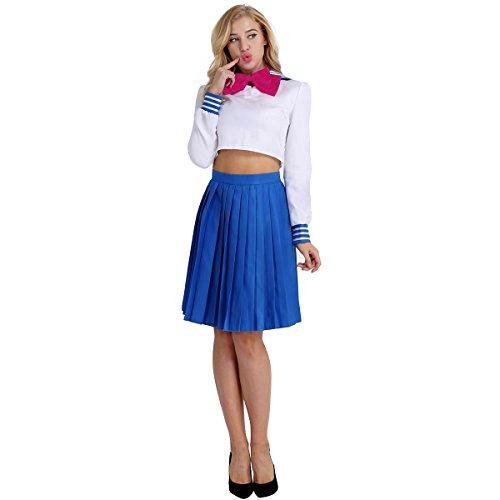 mädchen Dessous Outfit Mini Sailor Anzug Matrosenanzug Damen Halloween Kostüm mit Bowknot Band Weiß&Blau M (Teenager Mädchen Halloween Kostüme Uk)