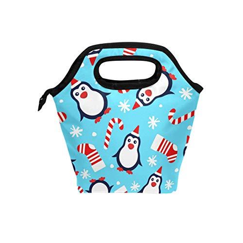 Lunchbox mit Weihnachts-Pinguine und Nikolausmütze, Lunchbox, Handtasche, Socken, Süßigkeiten-Zuckerstange, Schneeflocken, isoliert, für Jungen und Mädchen - Pinguin Lunch-box
