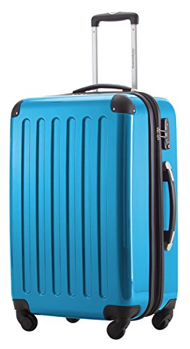 HAUPTSTADTKOFFER® 87 Liter Hartschalen Koffer · Koffer 87 Liter (63 x 42 x 28 cm) · Hochglanz · TSA Zahlenschloss · SILBER Cyan Blau