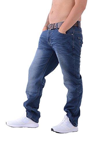 Herren Crosshatch NEU FARROW Designer Jeans mit Gürtel - Halbhelle Waschung, 46W x 32L