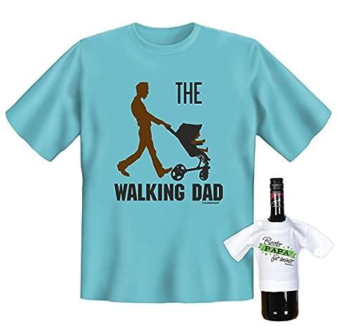 The Walking Dad, witziges T-Shirt, Funshirt, Motivshirt, Geschenke Set mit Mini T-Shirt, (Super Dad Kostüm-ideen)