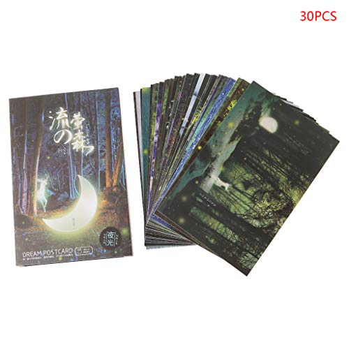 Bogji - 30pcs Vintage Luminous Postcard Glow In The Dark Forest Streamer Animal Greeting Post Card Novelty Xmas Greeting Cards Gift